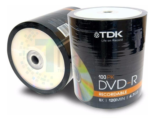 bulk x100 dvd tdk 4.7gb -r estampado 8x - factura a / b