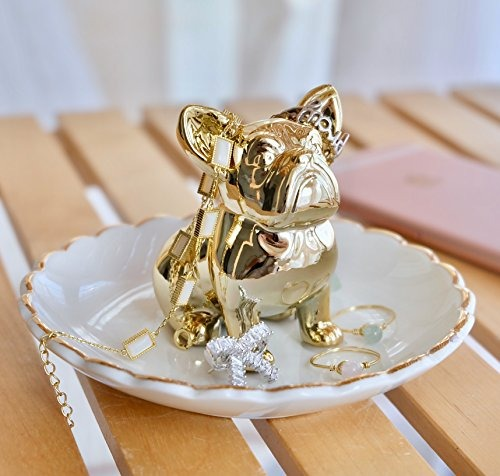 192161684d8c Bulldog Bandeja De Joyas De Oro Anillo Soporte Joyero Plato ...