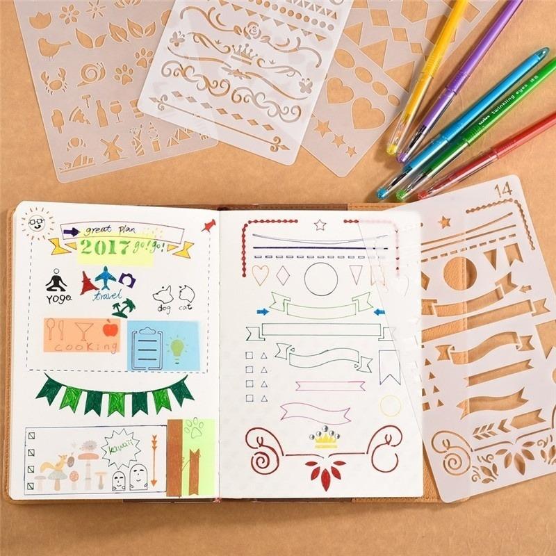 Bullet Journal Stencil Set Plastic Planner Diy Desenho Templ R