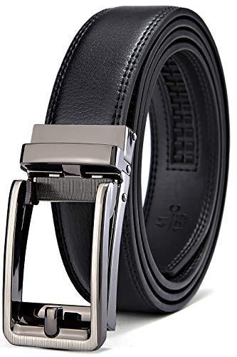 ffe5c55de Bulliant Hombres Cinturón Trinquete De Cuero Negro Para H ...