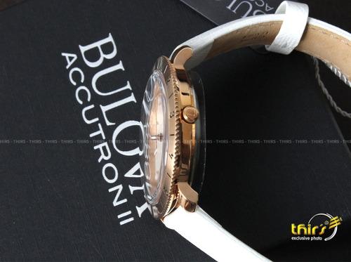 bulova accutron ii  97b128  rose grande 42mm couro original