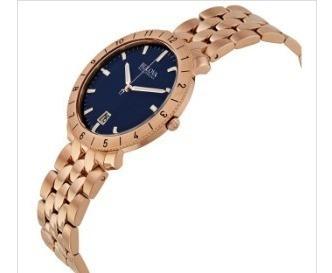bulova accutron ii blue dial rose gold-tone mens watch 97b13