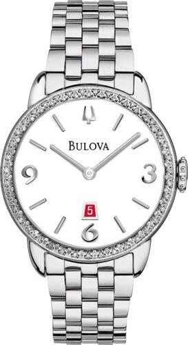 bulova diamonds collection 96r183 reloj mujer 32mm