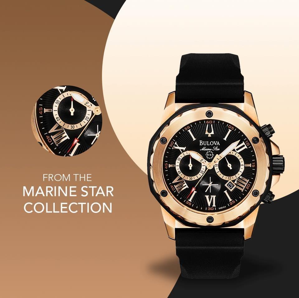 ef7acf80680 Bulova Marine Star Gold 18k Plated Icon De  2.860 Por Apenas - R ...