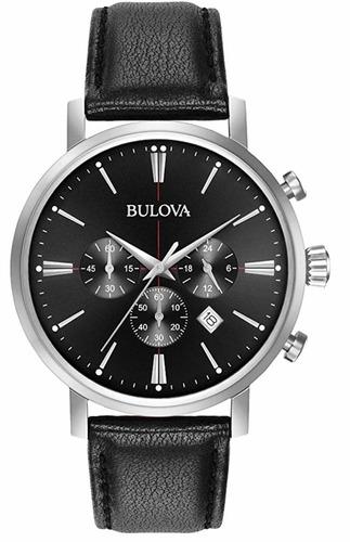 bulova - relógio luxuoso analógico à quartz, corpo em aço