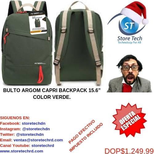 bulto argom capri backpack 15.6'' color verde.