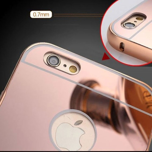bumper lujo mirror espejo aluminio iphone 6 y 6 plus + mica