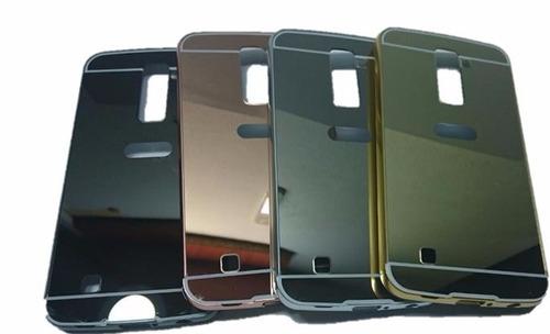 bumper protector  lg k10 de aluminio tipo espejo + vidrio