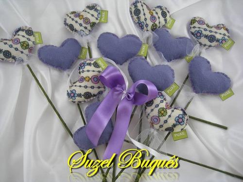 buquê de coração lilás