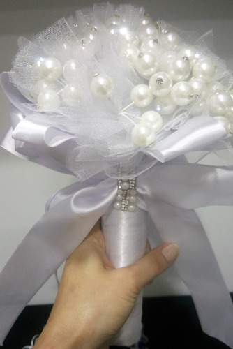 buquê de pérolas e strass noiva/casamento - ac316