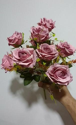 buque rosa envelhecido c/ 9 flor artificial arranjo decoraçã