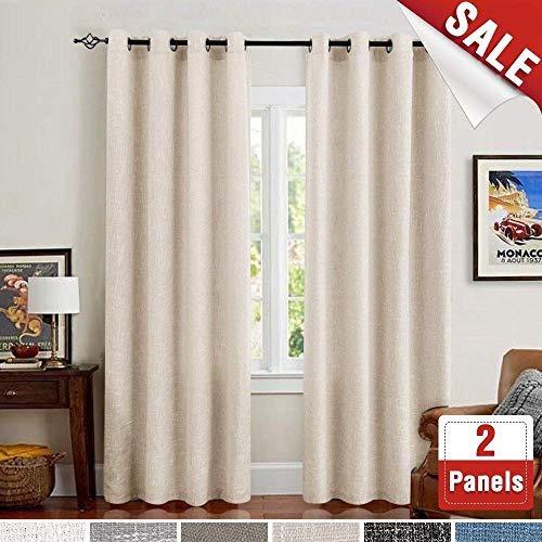 burlap con ollados habitación ventana cortinas para ventana
