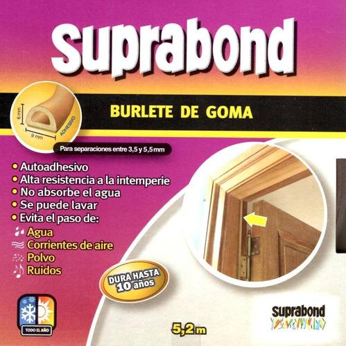 burlete goma perfil d marron suprabond 5 mts autoadhesivo