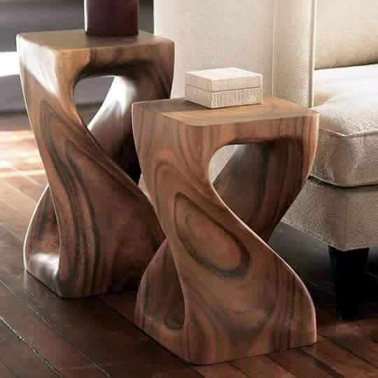 Bur mesa lateral madera de parota tallada a mano for Mesa redonda esquinera