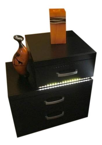 buro toronto con iluminación led 3 cajones color chocolate