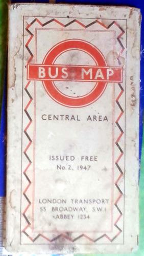 bus map central area - london transport 1947 aceptable estad