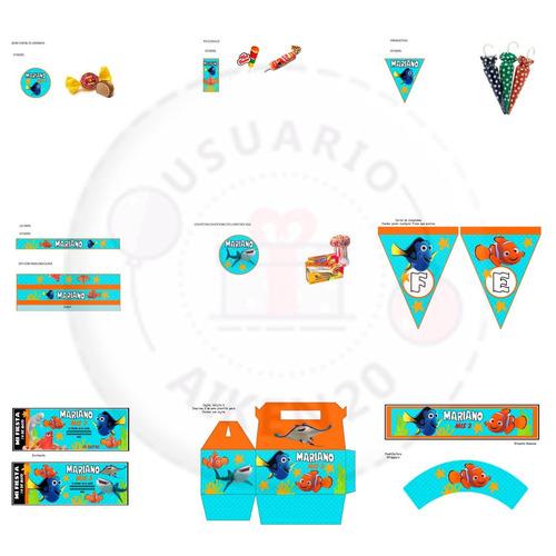 buscando a dory kit imprimible + candy+ tarjetas + 2 x 1