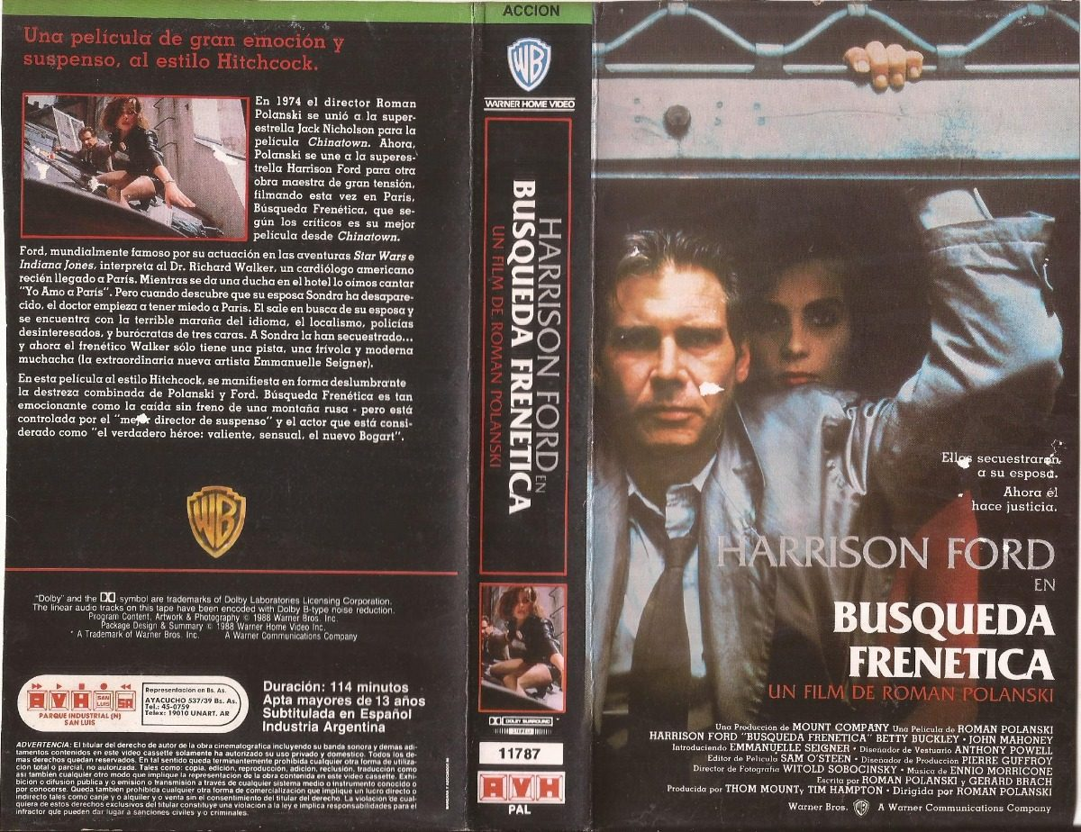 Busqueda Frenetica Vhs Frantic Harrison Ford Roman Polanski 50