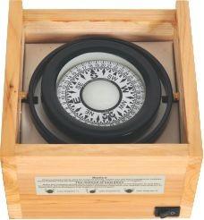 bussola náutica 75mm - caixa de madeira para barco