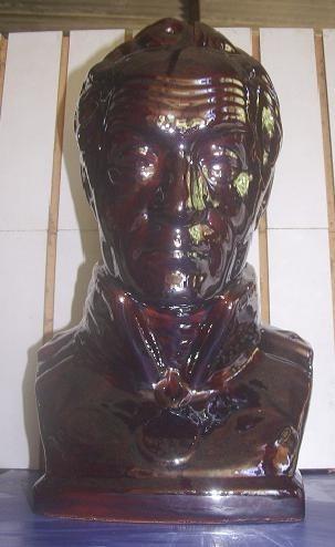 busto de simòn bolivar  pintado al horno en cobre metalico