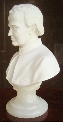 busto italiano de don bosco en alabastro. arte sacro