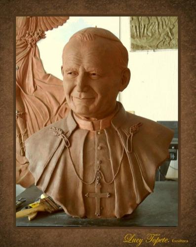 busto oficial de juan pablo ii, en bronce de primera calidad