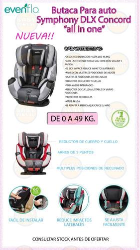 butaca bebe auto evenflo symphony dlx 0 a 49 kg reductor