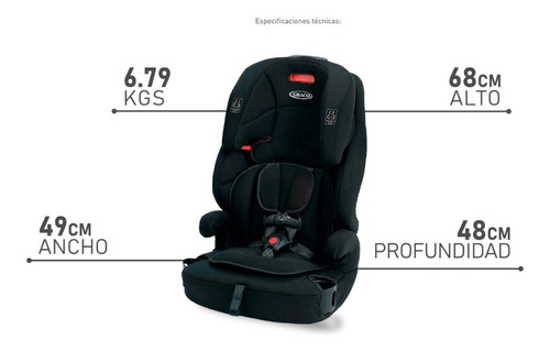 butaca booster auto bebe graco tranzitions 9 a 45 kg 3 en 1