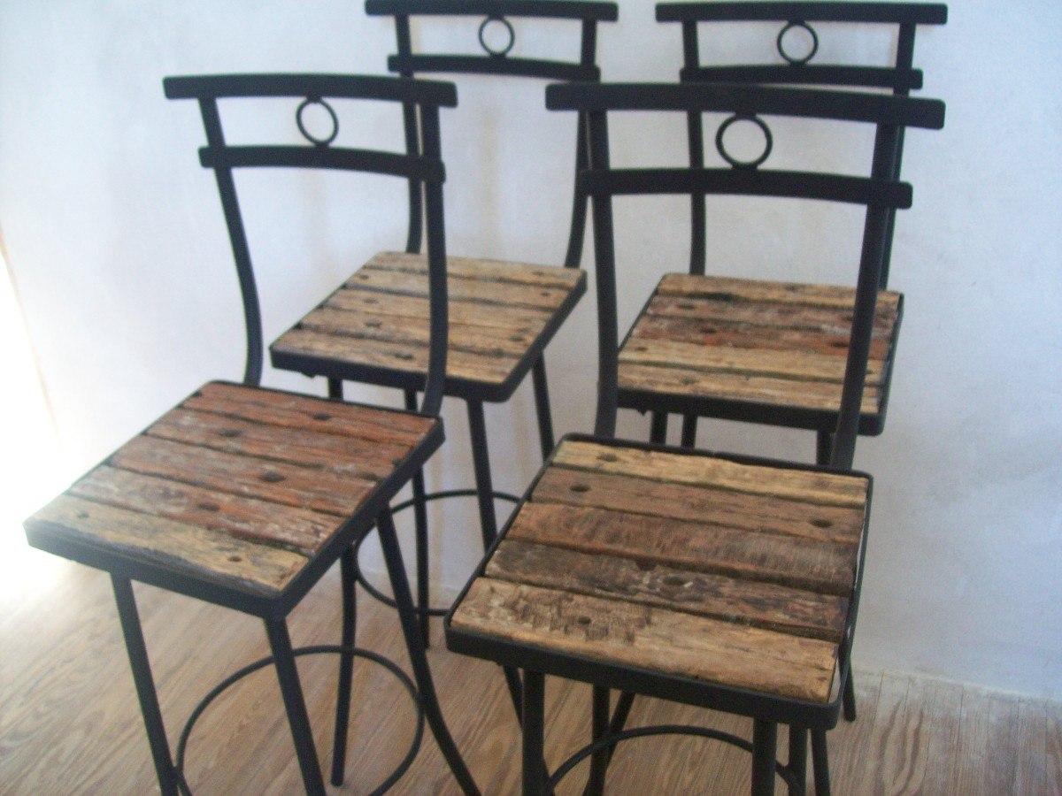 Butaca silla taburete alta de madera pique y hierro nuevas for Taburetes de madera