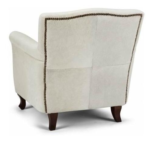 butaca tapizada 100% en cuero natural - lelis.