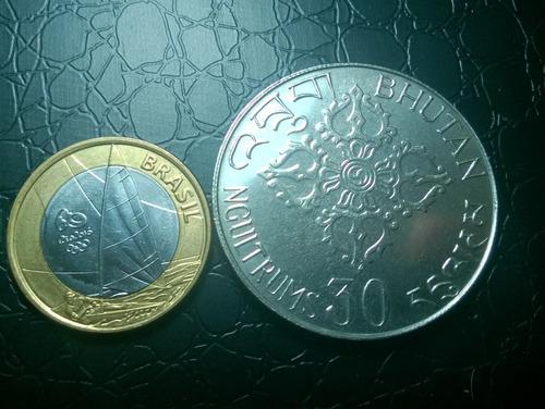butão- moeda rara comemorativa 30 ngultrums 19 mil cunhadas