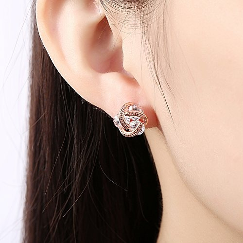 buycitky 14k rose oro plateado amor nudo stud earrings para