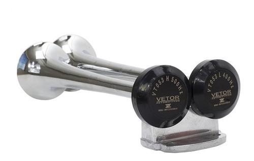 buzina 2 cornetas cromada 12v - incluso compressor mangueira