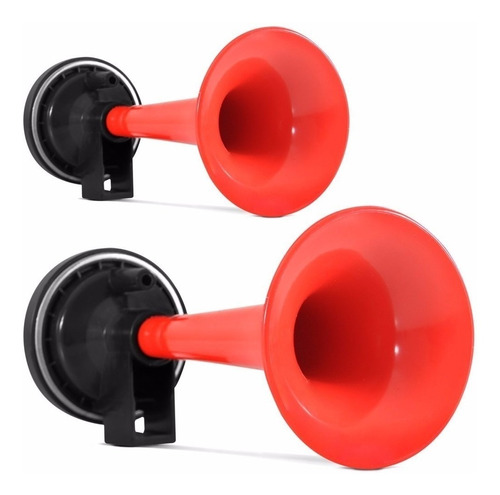 buzina ar 2 cornetas vermelha 12 24v s/ compressor par
