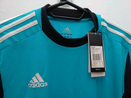 buzo adidas condivo portero x20303 - cyan/negro/blanco