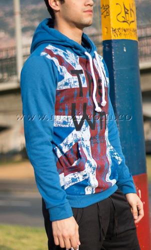 buzo buso estampado inglatera chaqueta azul original maxi®