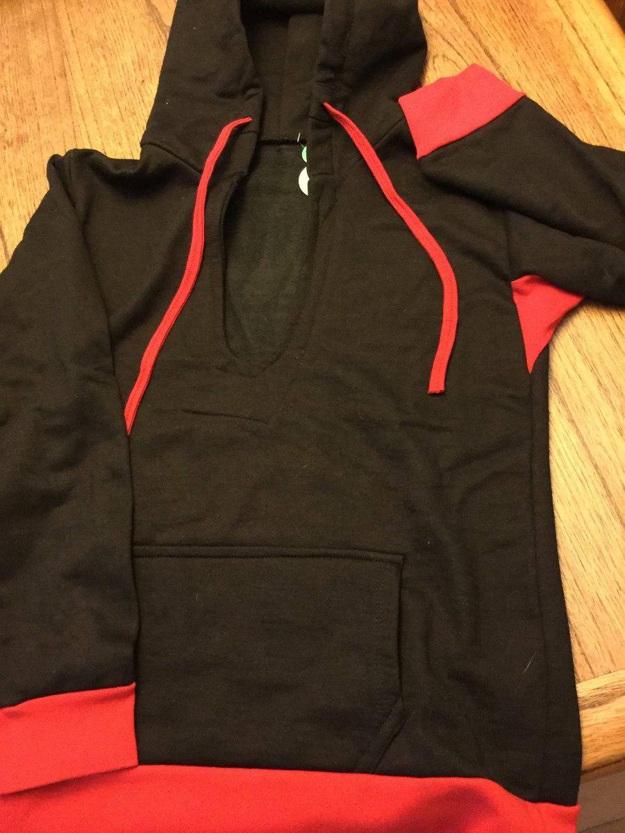 buzo canguro capucha mujer combinado negro y rojo. Cargando zoom. d165cb8789ab9