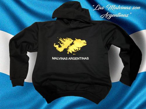 buzo canguro islas malvinas argentina negro frisa calidad