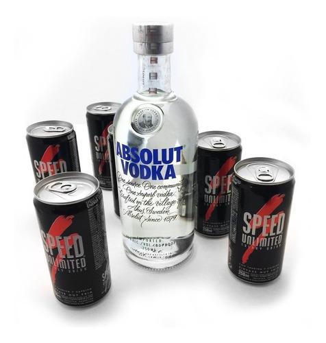 buzo canguro kabul negro + absolut vodka + 6 latas de speed