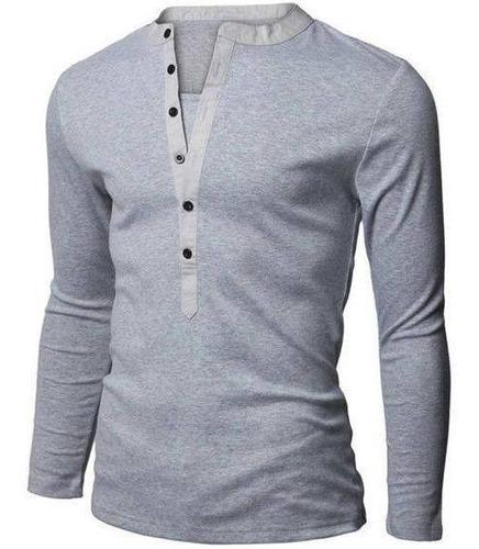 buzo de boton  slim fit ajustado al cuerpo hombre sweater