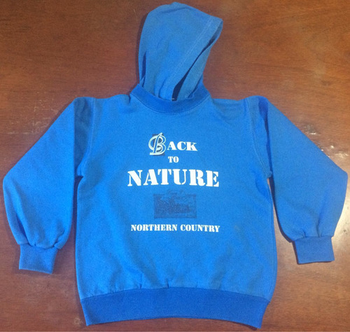 buzo friza capucha side by side back to nature talle 6 azul