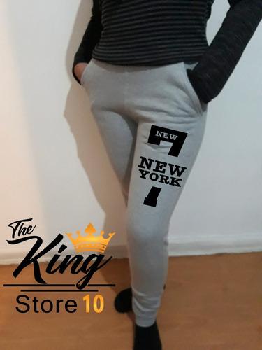 buzo pantalón pitillo deportivo new york 7 dama, estampado