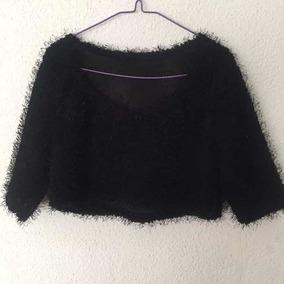 Larga Peludo S Manga Sweater Negro Corto Talle Buzo m8n0wN