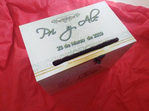 buzon de bodas /urna para sobres o dinero cartel y candado
