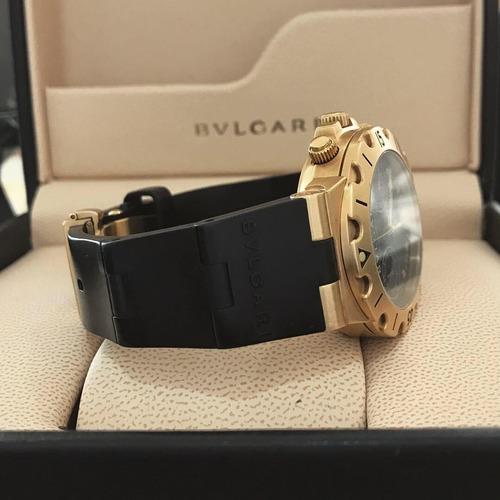 bvlgari diagono scuba chrono ouro rosé 38mm - completo