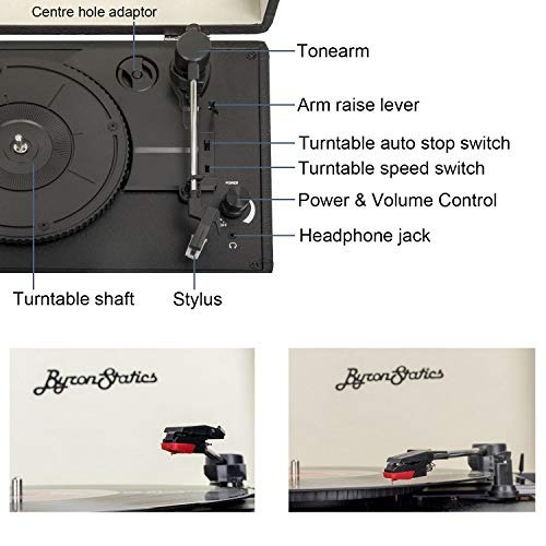 byron statics - reproductor de vinilo portatil con 2 altavoc