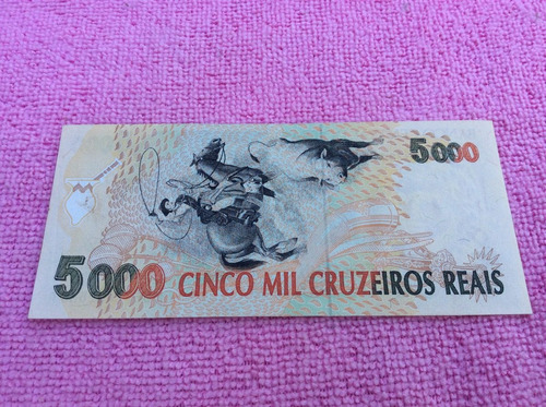 c 239 cédula 5 mil cruzeiros reais, ano: 1993, sob / fe