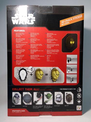c-3po lampara de pared led 3d deco light star wars