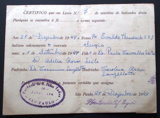 C0523 Par Quia De S O Judas Tadeu Certificado De Batismo R 26