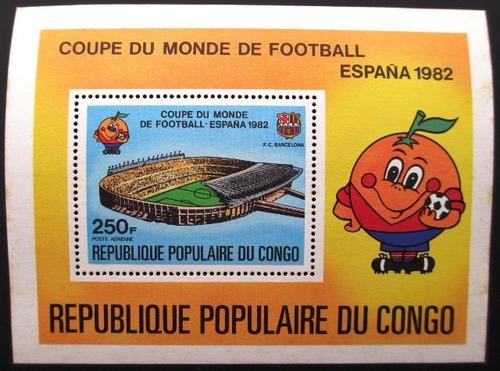c0700  congo - bloco da copa futebol da espanha yvert nº 24